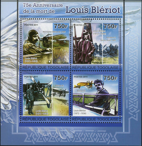 Louis Bleriot Stamp Historical Figure Souvenir Sheet of 4 Mint NH