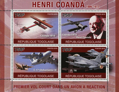 Henri Coanda Stamp Historical Figure Airplane Souvenir Sheet of 4 Mint NH