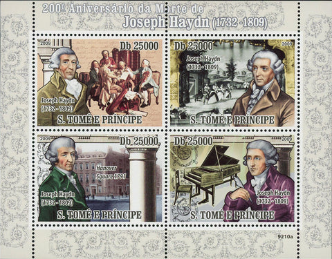 Joseph Haydn Stamp Famous People Composer Music Souvenir Sheet of 4 Mint NH