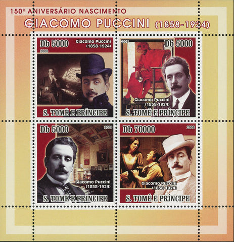Giacomo Puccini Stamp Opera Composer Famous People Souvenir Sheet of 4 Mint NH