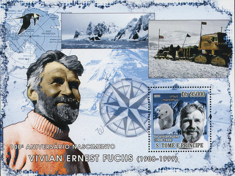 Vivian Ernest Fuchs Stamp Explorer Historical Figure Souvenir Sheet Mint NH