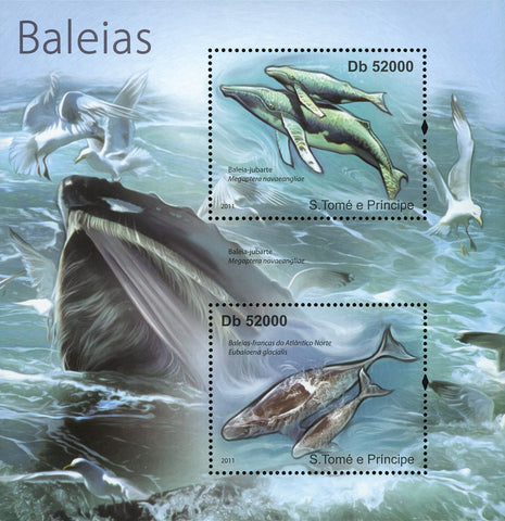 Whale Stamp Marine Fauna Ocean Souvenir Sheet of 2 Mint NH