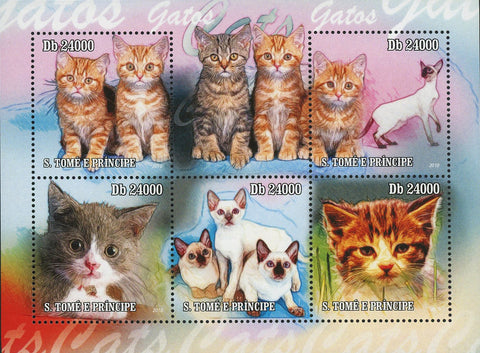 Beautiful Cat Stamp Pet Domestic Animal Souvenir Sheet of 5 Mint NH