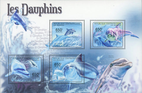 Dolphin Stamp Marine Fauna Ocean Souvenir Sheet of 4 Mint NH