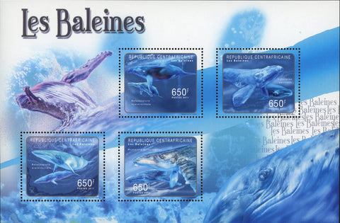 Whale Stamp Cetacea Marine Fauna Souvenir Sheet of 4 Mint NH