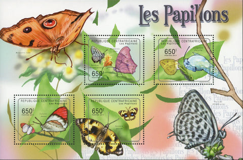 Butterfly Stamp Insect Tarucus Theophrastus Souvenir Sheet of 4 Mint NH