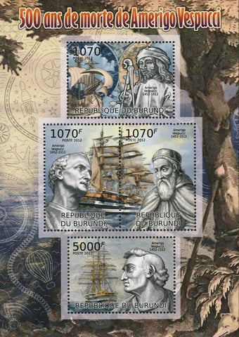 Amerigo Vespucci Stamp Merchant Navigator Explorer Souvenir Sheet of 4 Mint NH