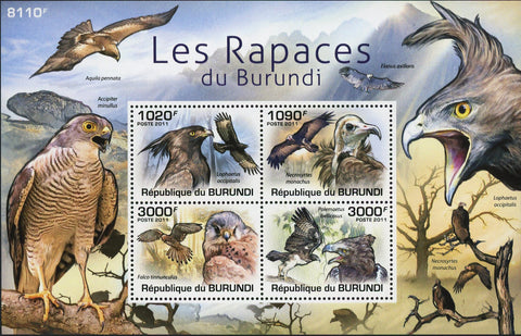 Bird of Prey Stamp Raptor Eagle Falcon Crow Souvenir Sheet of 4 Mint NH