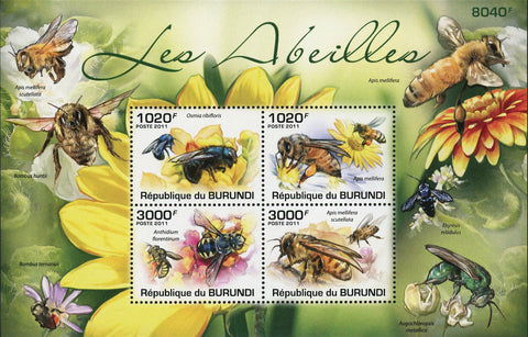 Bee Stamp Insect Honey Bee Apis Mellifera Flower Souvenir Sheet of 4 Mint NH