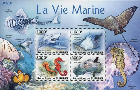 Marine Life Stamp Ocean Fish Shark Manta Rays Souvenir Sheet of 4 Mint NH