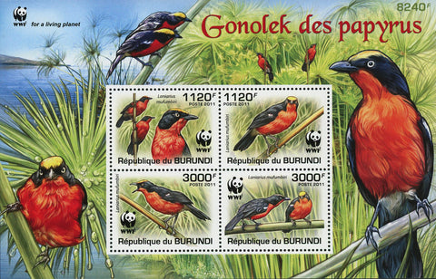 Bird Stamp Papyrus Gonolek Africa WWF Souvenir Sheet of 4 Mint NH
