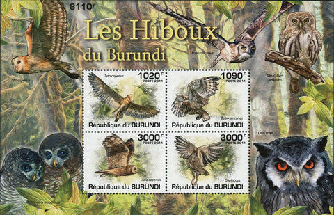 Owl Stamp Bird Tyto Capensis Bubo Africanus Souvenir Sheet of 4 Mint NH