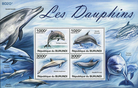 Dolphin Stamp Ocean Marine Fauna Souvenir Sheet of 4 Mint NH