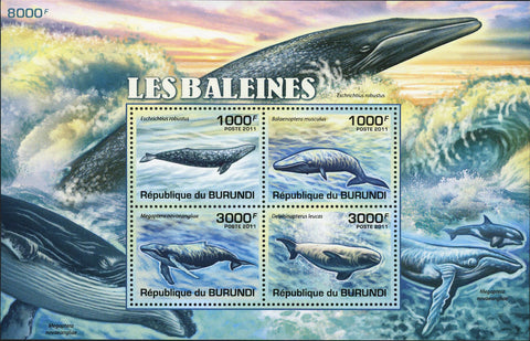 Whale Stamp Cetacea Marine Fauna Ocean Souvenir Sheet of 4 Mint NH