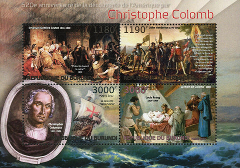 Columbus Stamp Christopher Columbus Historical Figure Souvenir Sheet of 4 MNH