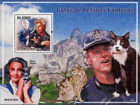 Cats and Famous People Stamp Elizabeth Taylor Bill Clinton Souvenir Sheet MNH