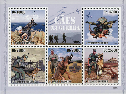 War Dogs Stamp Military Pet Domestic Animal Souvenir Sheet of 5 MNH