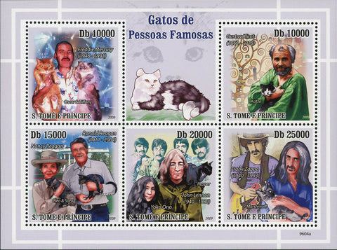 Cats and Famous People Stamp Freddie Mercury John Lennon Sov. Sheet of 5 MNH