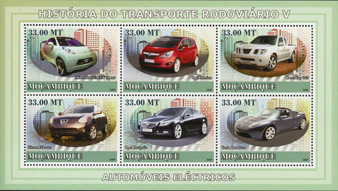 Electric Car Stamp Transportation Tesla Nissan Navara Souvenir Sheet of 6 MNH