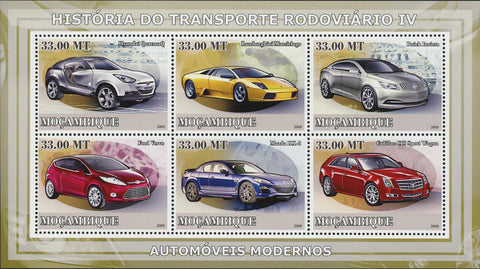 Modern Cars Stamp Transportation Lamborghini Mazda Cadillac Souvenir Sheet of 6