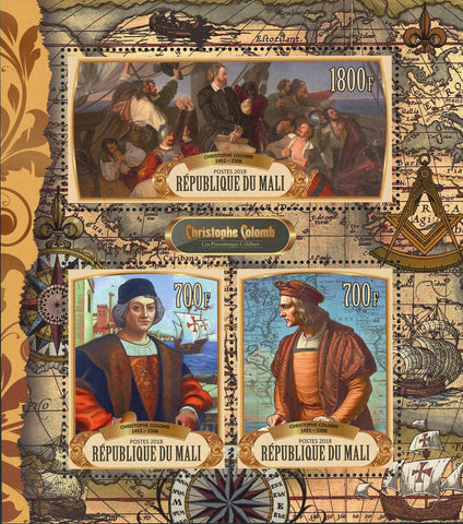 Christopher Columbus Stamp America Travel Conquest Souvenir Sheet of 3 MNH