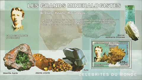 Famous Mineralogists Charles Palache Souvenir Sheet Mint NH