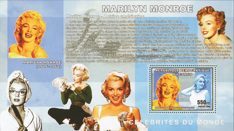 Congo Actrices Marilyn Monroe Jewelry Souvenir Sheet Mint NH