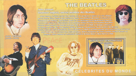 Congo Beatles John Lennon Music Souvenir Sheet Mint NH