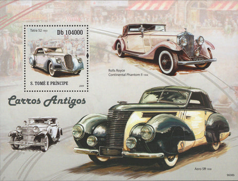 Antique Car Tatra 52 Rolls Royce Aero 59 Souv. Sheet MNH