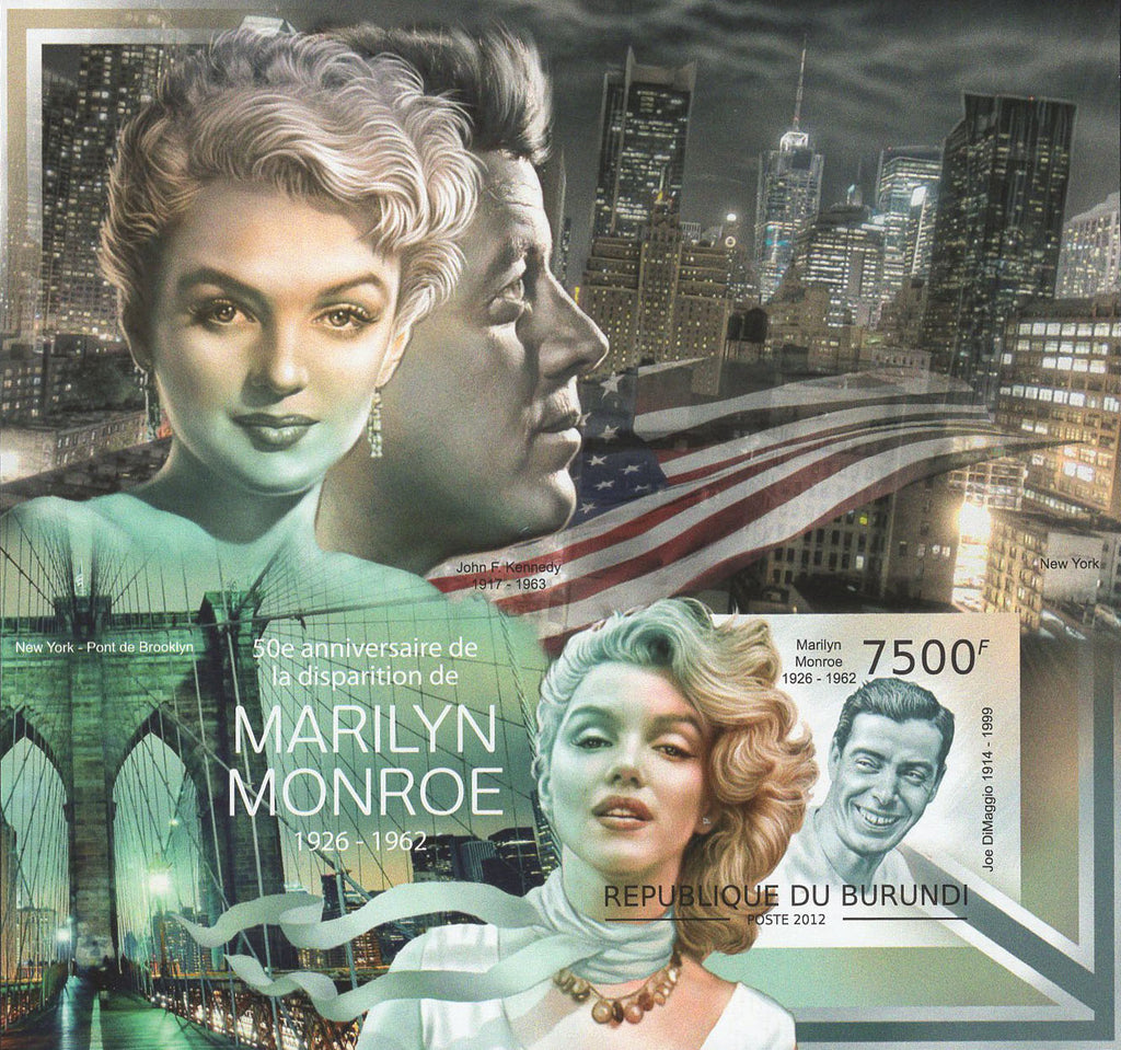Marlyn Monroe John F. Kennedy Imperforated Souvenir Sheet Mint NH