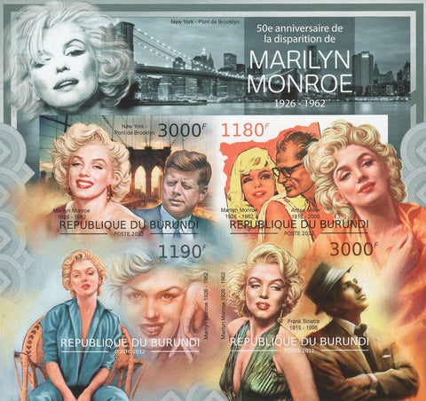Marilyn Monroe Frank Sinatra Imperforated Souvenir Sheet of 4 Stamps MNH