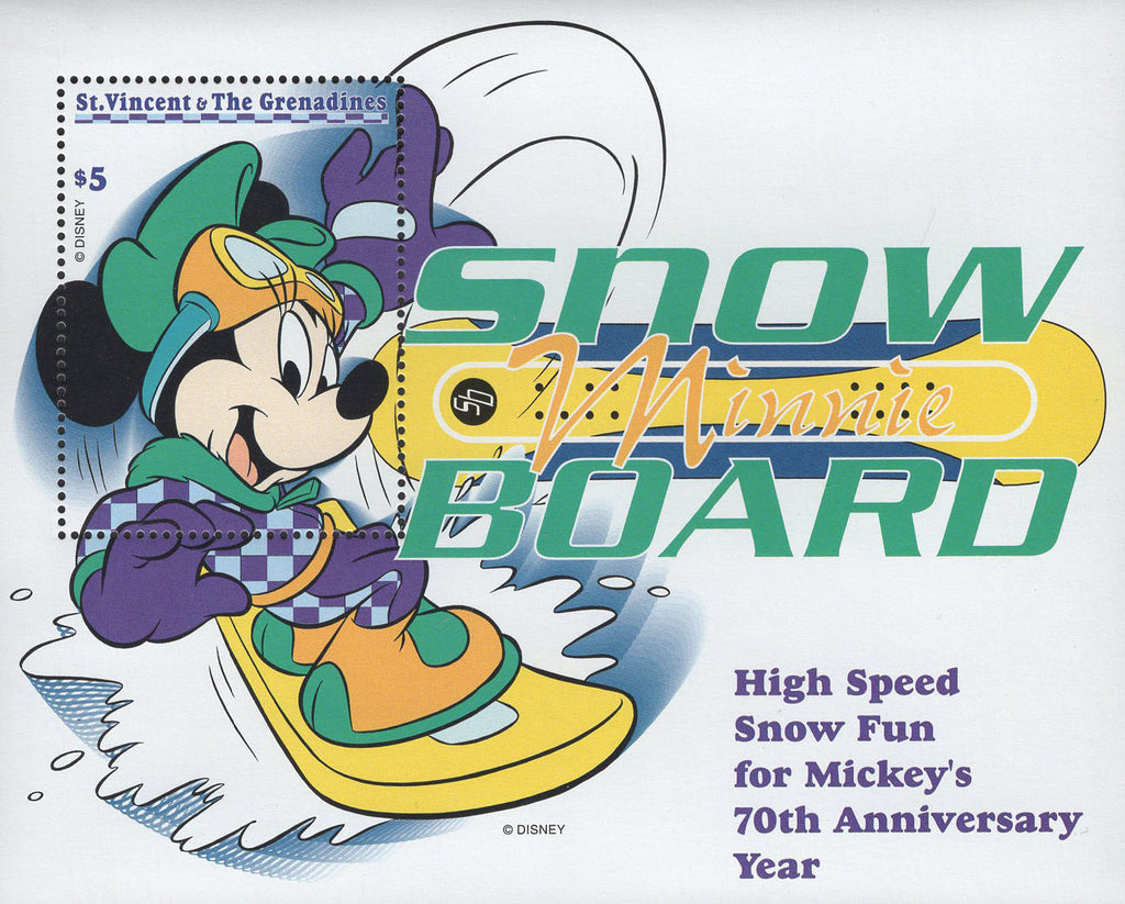 St. Vincent Minie Snow Board High Speed Anniversary Disney Souvenir Sheet MNH