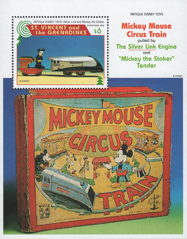 St. Vincent Antique Disney Toys Mickey Mouse Circus Train Souvenir Sheet MNH
