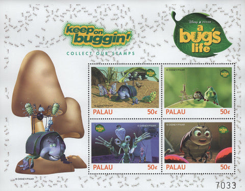 Palau Keep On Buggin' A Bug's Life Disney Pixar Souvenir Sheet of 4 Stamps MNH