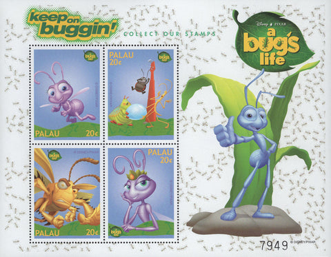 Palau A Bug's Life Keep On Buggin' Disney Pixar Sov. Sheet of 4 Stamps MNH