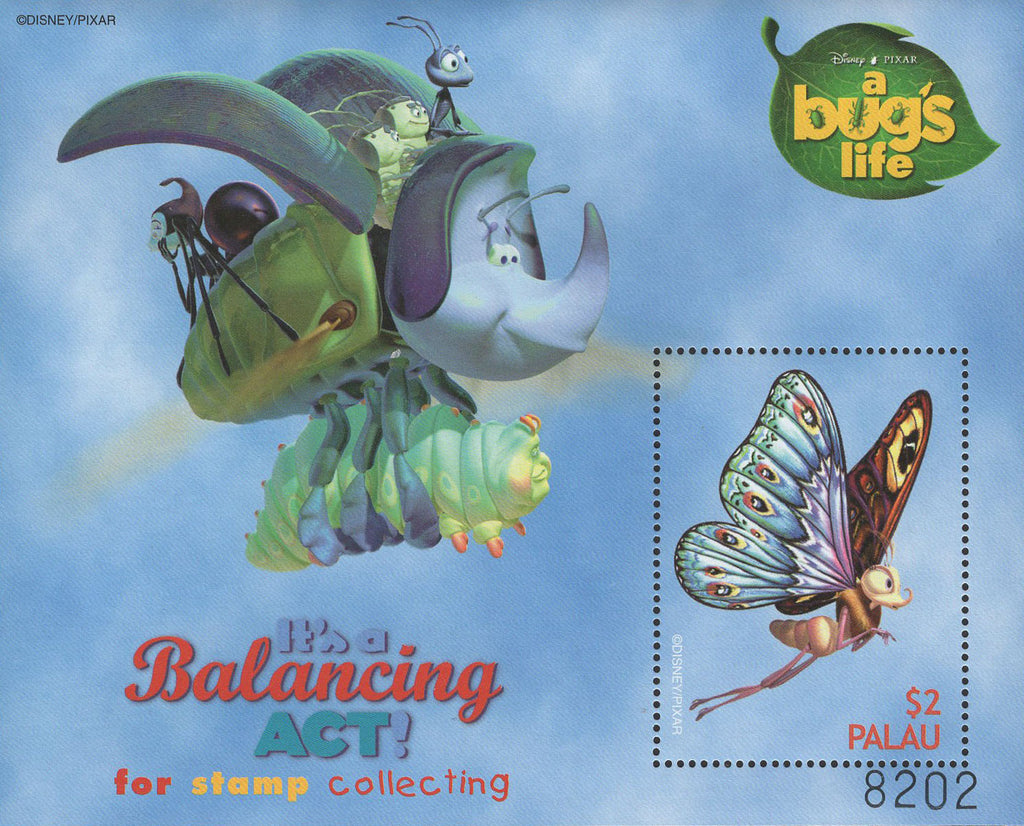 Palau A Bug's Life It's A Balancing Act Disney Pixar Souvenir Sheet MNH