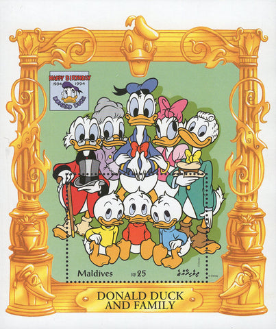 Disney Stamp Donald Duck Family Disney Souvenir Sheet Mint NH