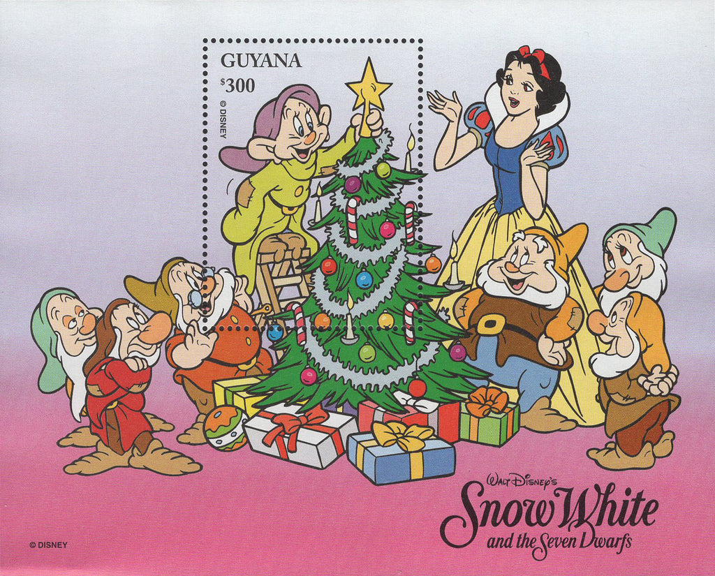 Guyana Snow White and The Seven Dwarfs Christmas Disney Souvenir Sheet MNH