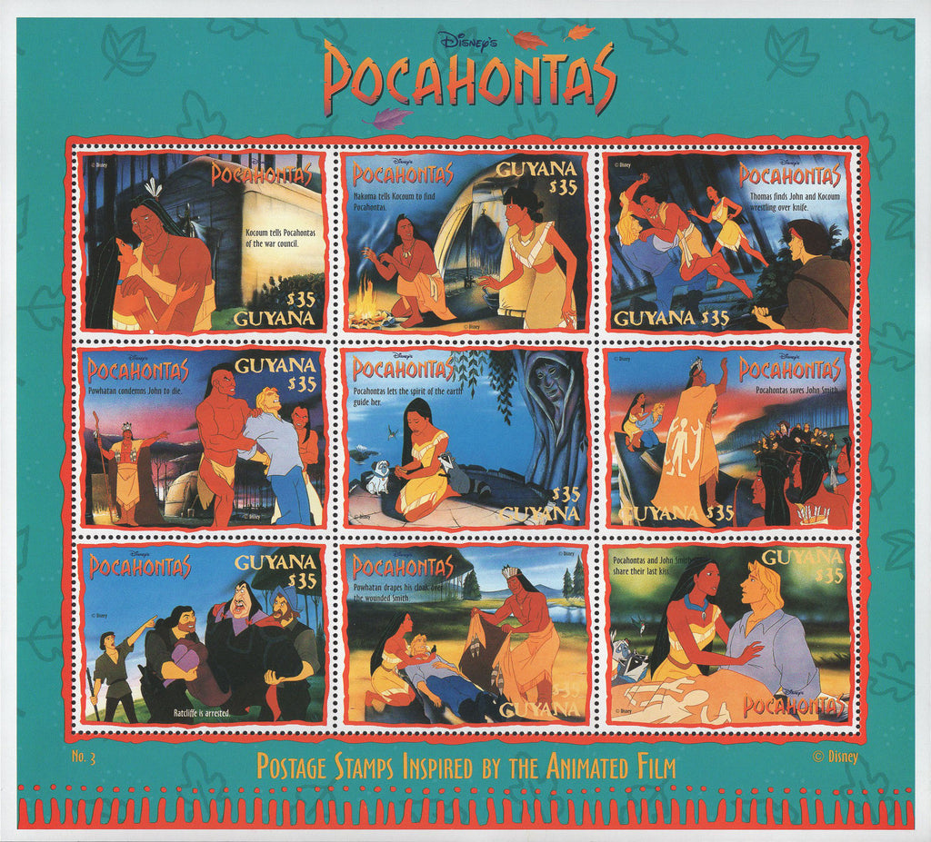 Guyana Disney Pocahontas Film Moments Souvenir Sheet of 8 Stamps MNH