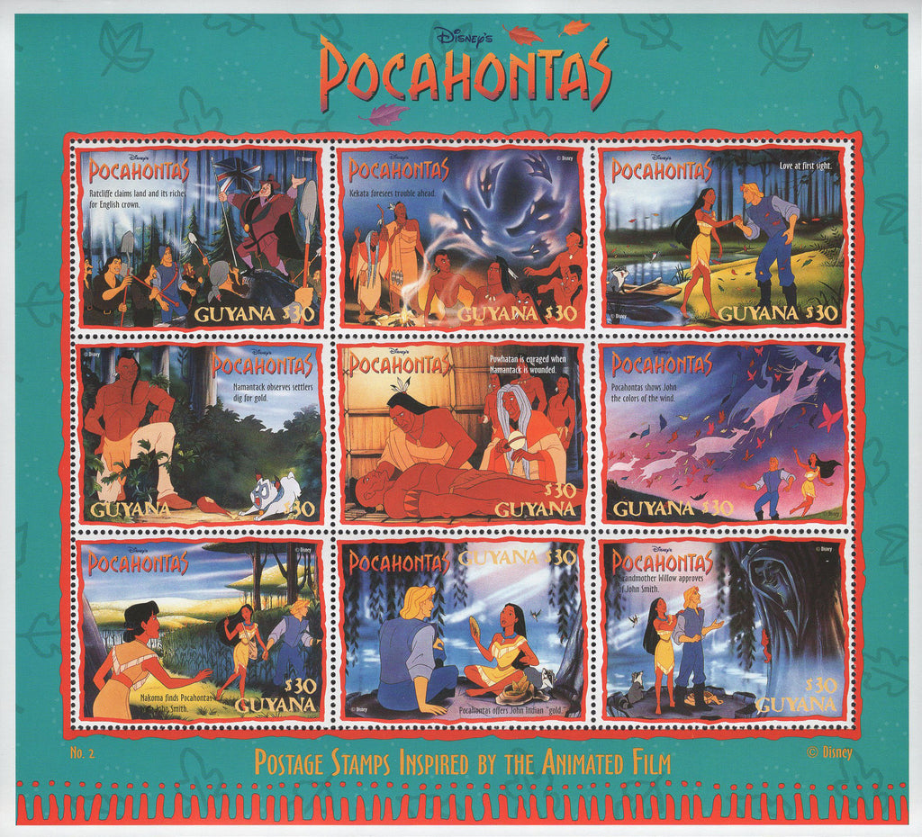 Guyana Pocahontas Film Disney Souvenir Sheet of 8 Stamps Mint NH