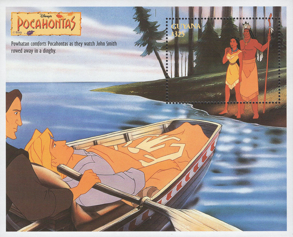 Guyana Pocahontas Powhatan John Smith Disney Souvenir Sheet Mint NH