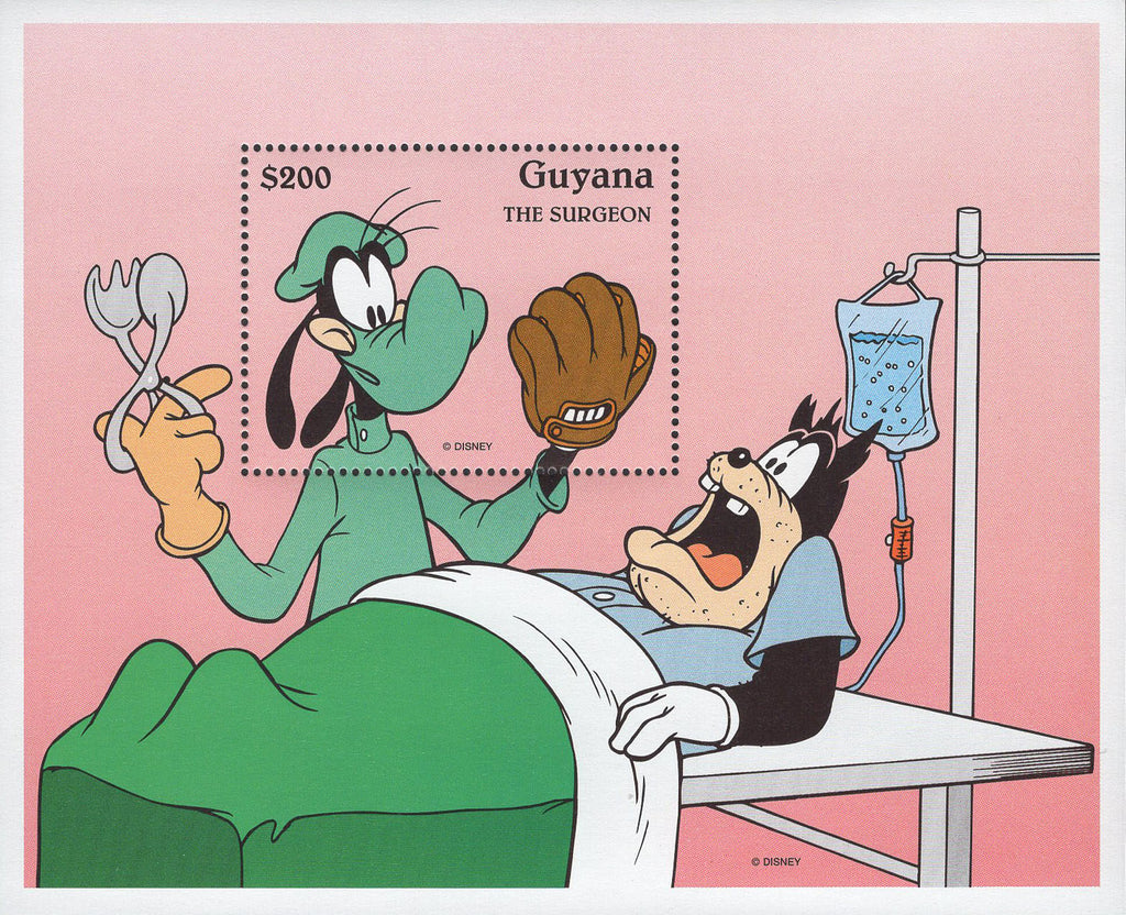Guyana Goofy The Surgeon Disney Souvenir Sheet Mint NH