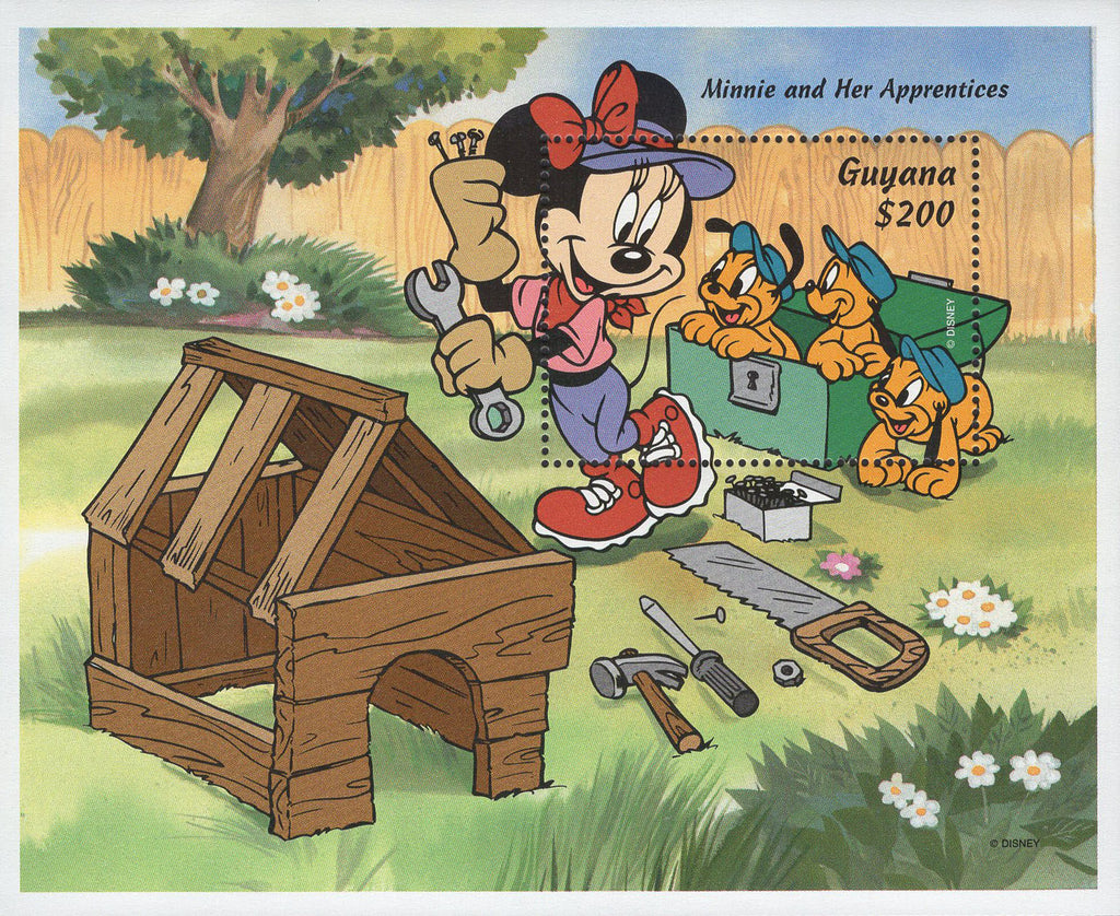 Guyana Minnie and her Apprentices Disney Souvenir Sheet Mint NH
