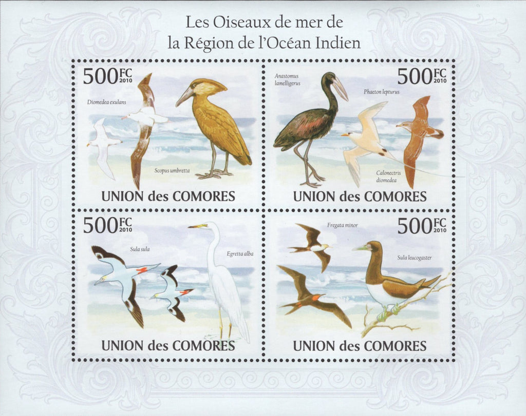 Birds of the Indian Ocean Souvenir Sheet of 4 stamps Mint NH