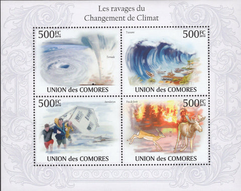 Weather Changes Climate Storm Fire Tsunami Tornado Floods Sov. Sheet MNH
