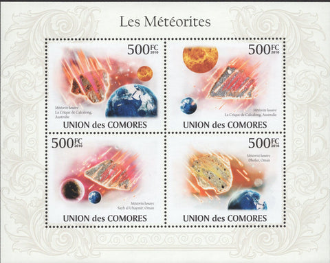 Comoros Meteorites Space Stars Earth Astronomy Souvenir Sheet of 4 Stamps Mint N
