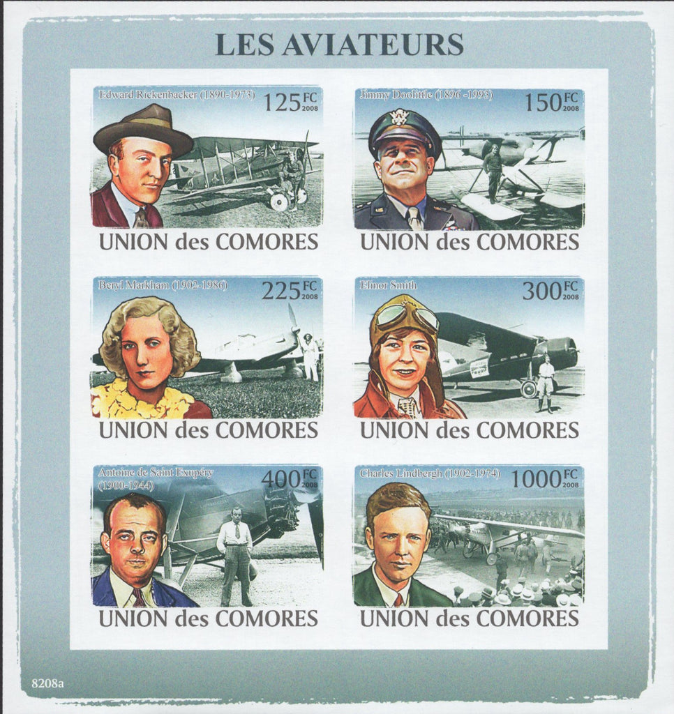 Pilots Aviators Souvenir Sheet of 6 Stamps Imperforated