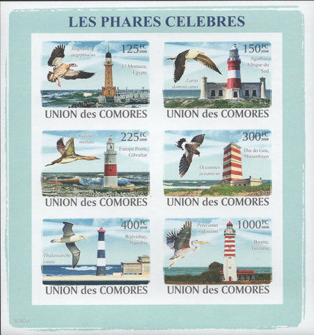 Famous Lighthouses birds ocean Architecture Imperforated Souvenir Sheet