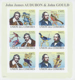 John James Audubon, John Gould Birds Imperforated Sov. Sheet of 6 Stamps