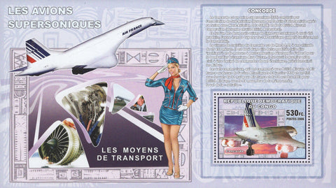 Supersonic Aircraft Airplane Concorde Transportation  Sov. Sheet MNH